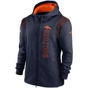 Brand New 2021 NFL Denver Broncos Nike Sideline Team Performance Full-Zip Hoodie