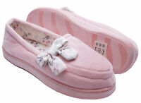 LADIES WARM PINK INDOOR HARD-SOLE SLIPPERS COMFY HOUSE SHOES PUMPS SIZES 3-6