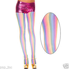 Opaque Vertical Striped Pastel Rainbow Stripes Pantyhose Tights Pride Halloween