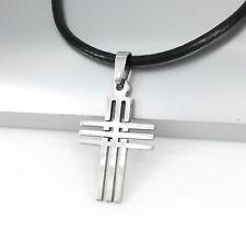 04efafc7b3433 ... chaînes, colliers et pendentifs pour homme. Tout afficher · En acier  inoxydable argent croix pendentif homme femme collier en cuir noir NEUF