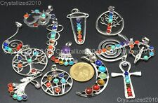 Natural Gemstones Moon Wings Cross Infinity Crown Chakra Healing Pendant Beads