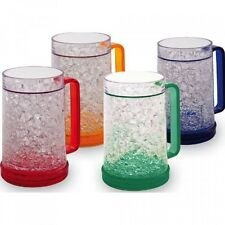 Double Wall Gel Freezer Mug - Set of 4 - Red, Orange, Blue, Green, New