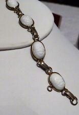 Vintage White Enamel Glass Scarabs Bracelet