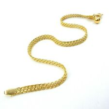 Crosshatch pattern 4 mm x 25 cm 22k Solid Gold Sge Anklet Bracelet with Double