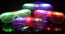 Flashing LED Multi Color 'Slotted Shutter' Light Up Show Toy Sunglasses- 12 Pcs