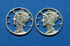 Mercury Dime Artistic US Silver Cut Coins  for Charms Pendants or Earrings