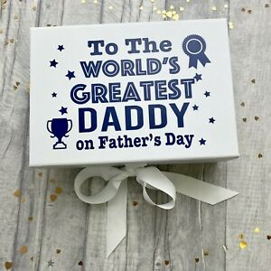 PERSONALISE FATHER'S DAY GIFT The World's Greatest Daddy Small White Ribbon Box