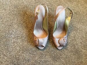 ROLAND CARTIER LADIES TAUPE HIGH HEEL PEEP TOE SHOES SIZE 7