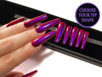 Red Purple Colour Shift Press On False Fake Full Cover Press On Gel Faux Nails