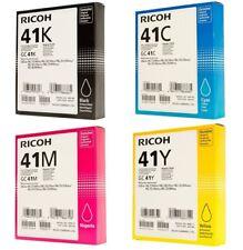 NEW 4x Ricoh 41 Genuine Pack GC 41K 41C 41M 41Y Printer Ink Toner Cartridge Set