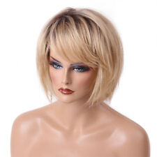 "14"" Women Real Human Hair Straight Bob Wig Blonde Blend Wigs Heat Resistant"