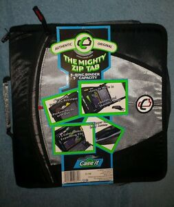 "Case It The Mighty Zip Tab 3-Ring Binder 3"" Capacity (D-146) Black"