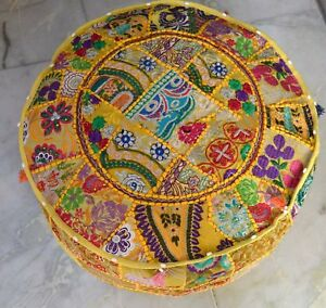 Indien Pouf Pouffe Cover Embroidered Patchwork Bohemian Cotton Ottoman Footstool