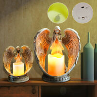 Angel Electronic Candle Holder Feather Wings Memorial Ornaments Tea Light Resin