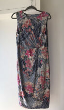 MONSOON DRESS 16/18 STRETCH RUCHED DRAPED KNOT TWIST FLORAL DITSY MIDI