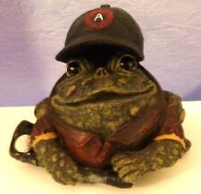 "Garden Sculpture Frog Golf Club Ball Cap Hat Figurine Decor  5 1/2"" X 6"" Resin"