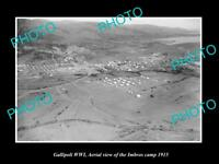 OLD LARGE HISTORIC MILITARY PHOTO WWI GALLIPOLI AERIAL VIEW OF IMBROS CAMP 1915