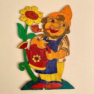 1970er Pebaro: Sonnenblumen-Gärtner-Zwerg 17cm Laubsägearbeit Gießkanne Pfeife