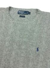 Polo Ralph Lauren 100% Silk Gray Cable Knit Crew Neck Pullover Sweater Large