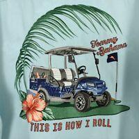 Tommy Bahama Golf Cart Camp Shirt Size Large Blue Silk Embroidered Hawaiian NWT