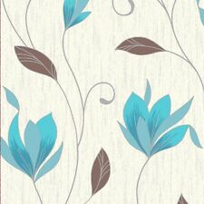 CROWN SYNERGY FLOWER BROWN TEAL BLUE CROWN FEATURE DESIGNER WALLPAPER M0779