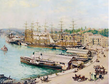 John Allcot, Circular Quay in the 1890s, Sydney Harbour,  Sailing Ships.