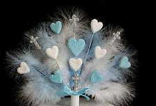 Baptême plume, cœur et croix Personnalisé Cake Topper (bleu et blanc)