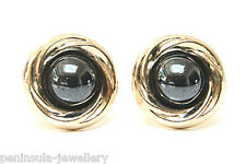 9ct Gold Hematite 10mm Studs earrings Made in UK Gift Boxed
