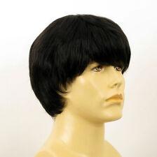 Perruque homme 100% cheveux naturel noir ref EMILE 1b