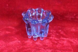 Blue Glass Small Pot Old Vintage Antique Home Decor Collectible PL-72