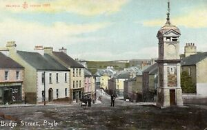 BRIDGE ST BOYLE ROSCOMMON IRELAND RELIABLE SERIES POSTCARD FOR TAYLOR of BOYLE