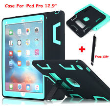 """F iPad Pro 12.9"""" Shockproof Hybrid Rugged Rubber Protective Hard Cover Case+Clip"""