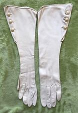 Vintage 1920s Long Evening Gloves Fownes 20s Art Deco Cream Suede Pearl Buttons