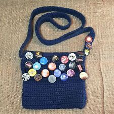 Bohemian Crochet Handmade Zipper Purse Hobo Hipster Bag with Band Concert Pins