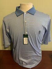 NWT Fairway & Greene Men's Medium or Small Blue Strip Golf Polo Shirt w logo NEW