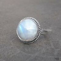 Rainbow moonstone Solid 925 Sterling Silver Anxiety Ring Meditation Ring SR013