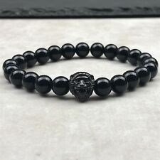 Onyx glänzend - All Black Edelstahl Löwenkopf Armband Stainless Steel Löwe
