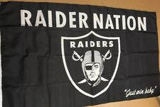 Oakland – Las Vegas Raiders Raider Nation Just Win Baby Flag 3 X 5'