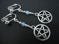 A Pair Of Tibetan Silver Opalite Bead Clip On Pentangle Pentagram Earrings.