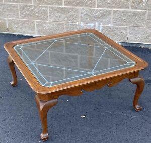 ETHAN ALLEN Canterbury Oak Coffee Table 28-8411 Finish 228 Leaded Glass