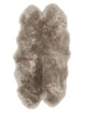 JOHN LEWIS 100% Wool SHEEPSKIN QUAD RUG Grey Beige NEW