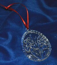 Clear Glass Flower embossed Oval Ornament Christmas Easter Window decor