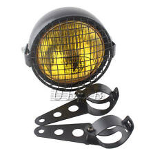 "6.3"" Grill Retro Vintage Motorcycle Side Mount Headlight + Brackets Cafe Racer"