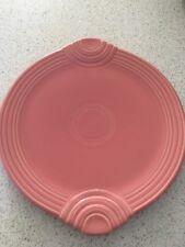 Fiestaware USA Homer Laughlin China Co Pink Large Handled Cake Server Plate Used