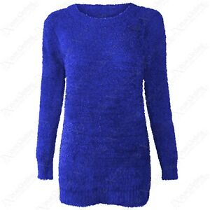WOMENS LADIES SOFT KNIT MOHAIR LOOK BOUCLE KNIT ROUND NECK JUMPER SWEATER