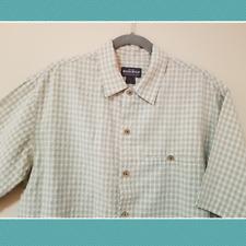 Woolrich Men's Light Green Gingham Short Sleeve Shirt | Size M | Cork Buttons