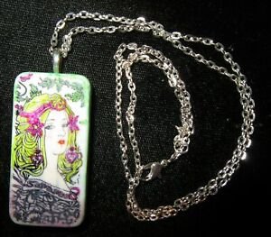 ALTERED ART DOMINO PAINTED LADY PENDANT  #2