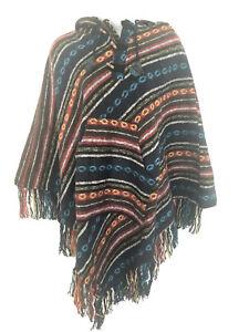HANDMADE Cotton PONCHO Tribe CAPE Gheri Cloak Gypsy Boho Coat Hippie Hoodie PS2