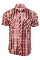 Mens Fashion Shirt Short Sleeves Red Check