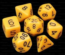 NEW 7 Piece Polyhedral Dice Set - Chirping Canary Opaque Yellow - Cream Dice Bag